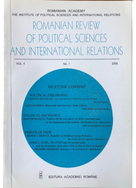 Romanian Review of Political Sciences and International Relations Nr.1 / 2005